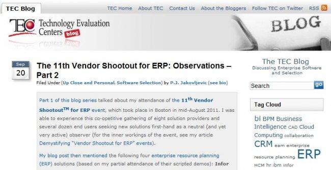 """ABAS fue """"la mayor revelación"""" del Vendor Shootout for ERP de Boston, según Technology Evaluation Centers"""