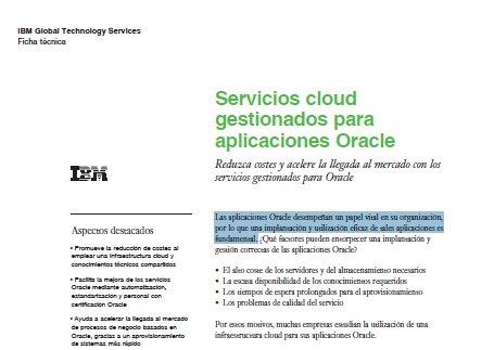 Servicios cloud gestionados para aplicaciones Oracle. Documento de IBM.