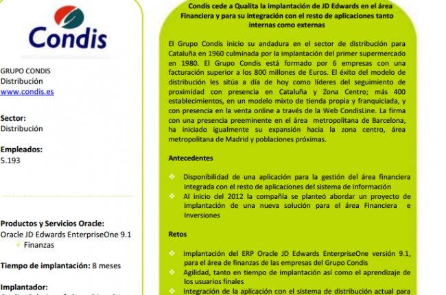 Grupo Condis implanta JD Edwards en el área financiera y para su integración con el resto de aplicaciones internas y externas