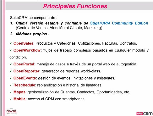 Intro y demo a SuiteCRM, nueva versión de SugarCRM Open Source. Webinar de 1 hora.
