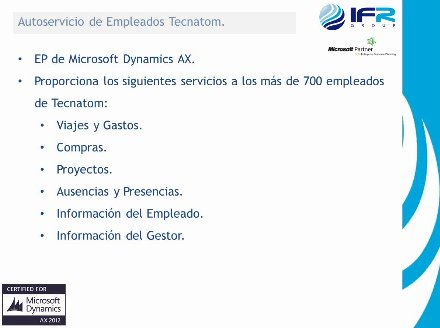 Caso de estudio. Administración de Personal con Dynamics AX en la Ingeniería Multinacional Tecnatom. Webinar de 40 minutos.