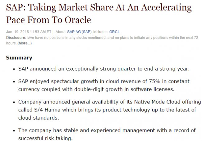 Seekingalpha.com considera que SAP se adapta mejor al Cloud que Oracle [Artículo en inglés]