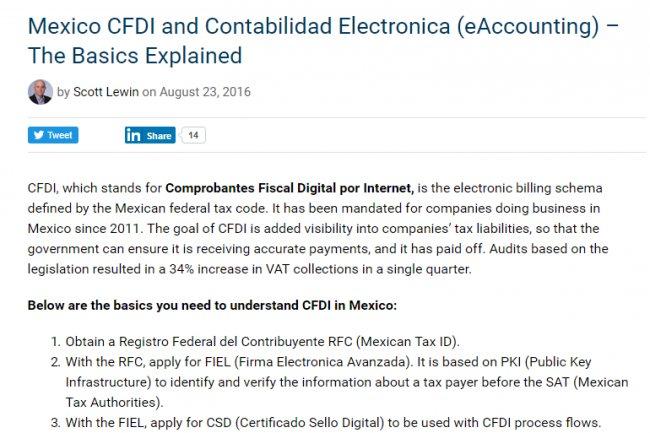invoicewareint.com explica la Factura electrónica en México [Artículo en inglés]
