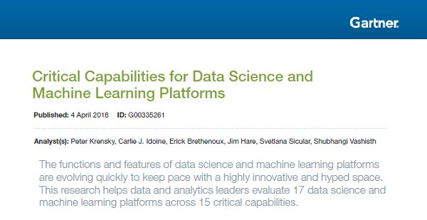 "17 Plataformas ""Data Science"" y ""Machine Learning"". Evaluación Gartner Capacidades Críticas [4 de abril 2018]"
